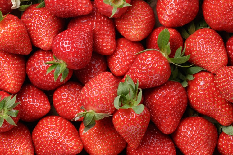 35576181 - background from freshly harvested strawberries, directly above